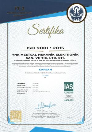 ISO 9001 Sertifikası